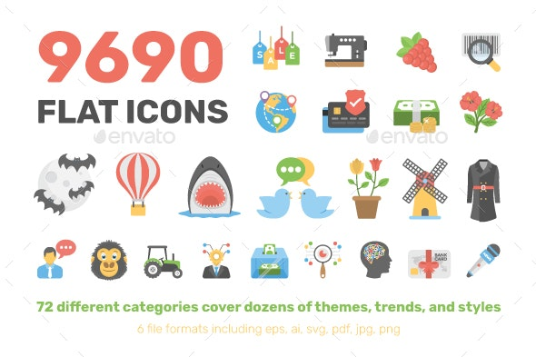 9690 Flat Icons Pack - Icons