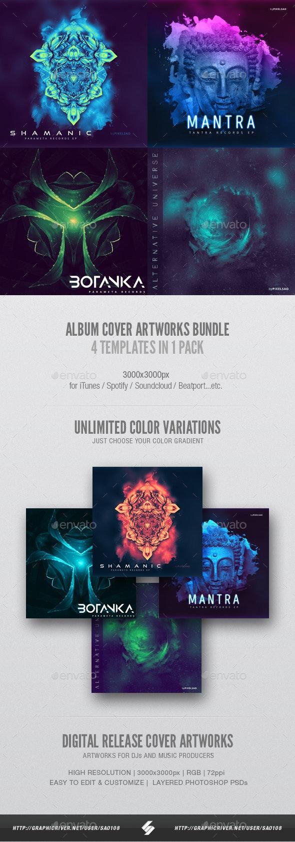 Electronic Music Album Cover Artwork Templates Bundle 3 - Miscellaneous Social Media