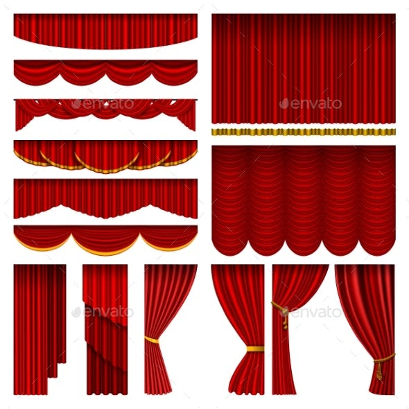 Red Blind Curtain Stage Isolated