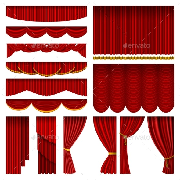 Red Blind Curtain Stage Isolated - Man-made Objects Objects