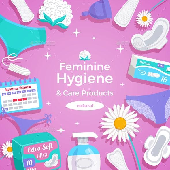 Feminine Hygiene Flat Frame - Backgrounds Decorative