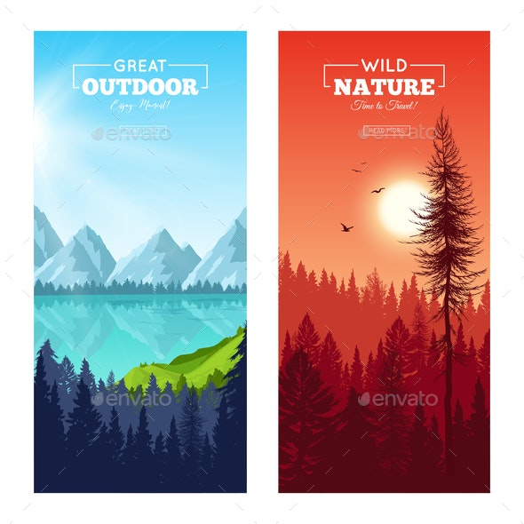 Realistic Pine Forest Vertical Banners - Landscapes Nature