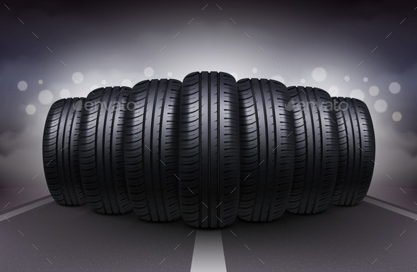 Car Tires on Night Roadway - Man-made Objects Objects