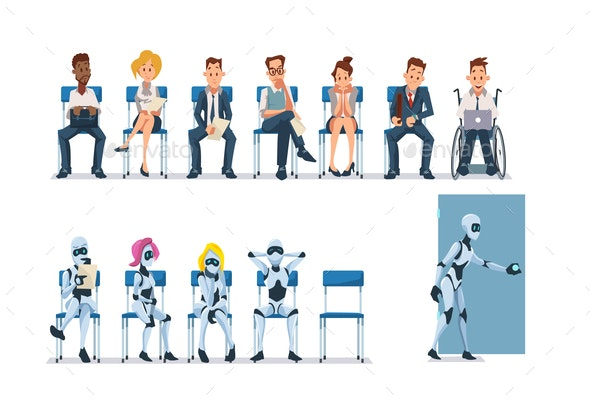 Job Interview Recruiting and Robots - People Characters