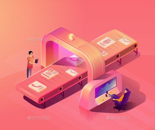 Personal Data Security Scanning Vector Concept - People Characters
