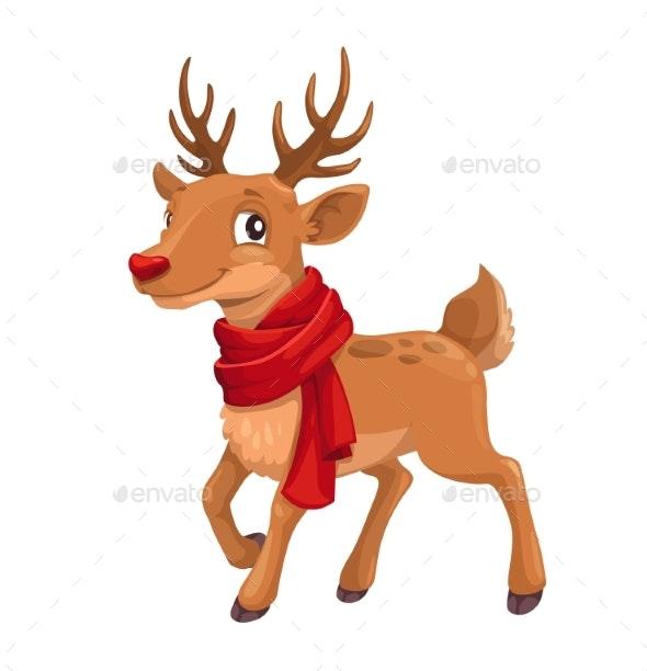 Christmas Celebration Cartoon Reindeer in Scarf - Animals Characters