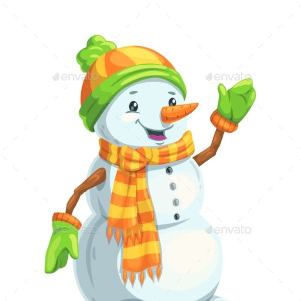 Christmas Snowman Character with Scarf and Hat