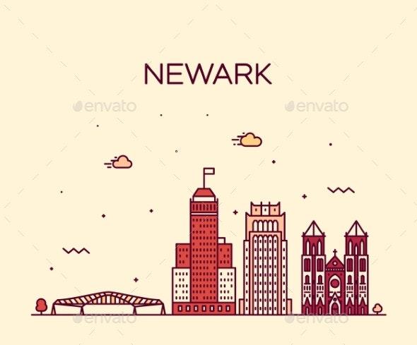 Newark Skyline New Jersey USA Vector Linear Style - Buildings Objects