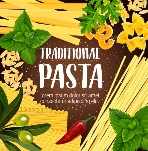 Pasta Dish with Spice and Greenery Culinary Poster - Food Objects
