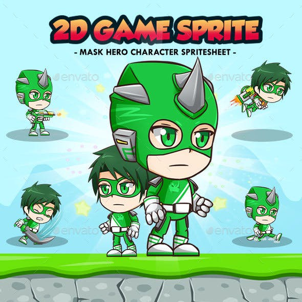 Hero Mask Green - 2D Game Character Sprites