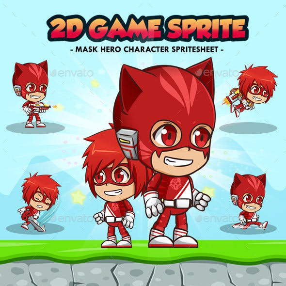 Hero Mask Red - 2D Game Character Sprites