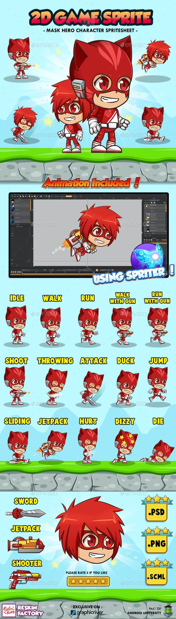 Hero Mask Red - 2D Game Character Sprites - Sprites Game Assets