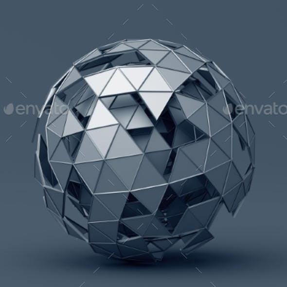 Abstract 3D Rendering of Polygonal Sphere