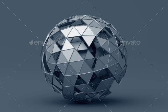 Abstract 3D Rendering of Polygonal Sphere - Abstract 3D Renders