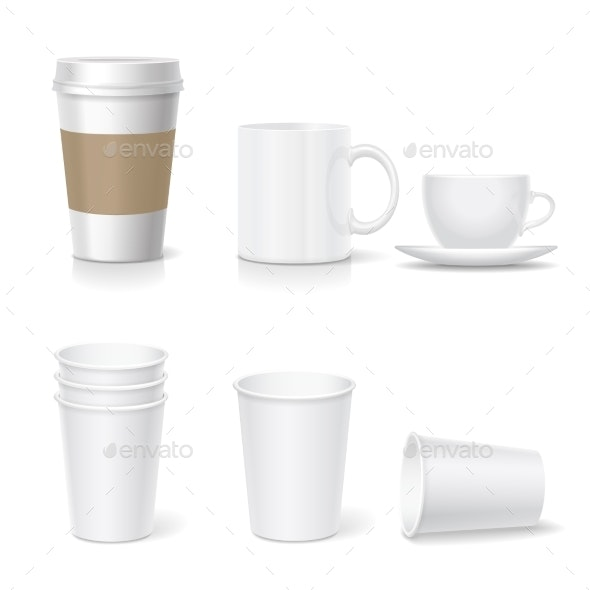Coffee Paper Cup Template and Coffee Mug Set - Food Objects