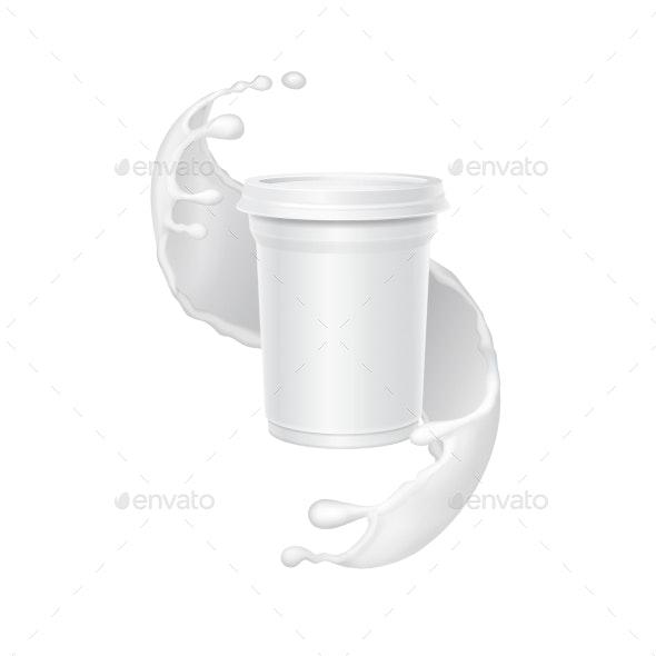 White Yogurt Box in a Splash of Milk - Food Objects