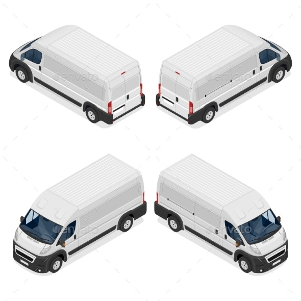 Commercial White Van Icons Set Isolated on White - Man-made Objects Objects