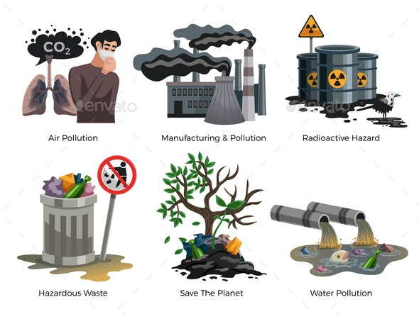 Pollution Awareness Concept Compositions - Industries Business