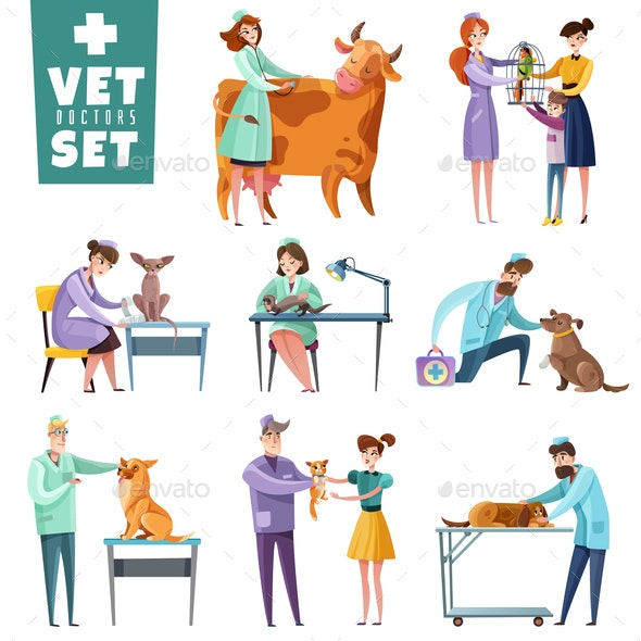 Vet Doctors and Animals Set - Animals Characters