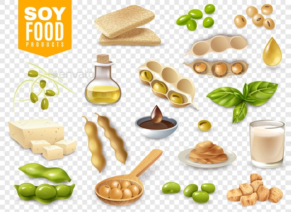 Soy Food Products Transparent Set - Food Objects