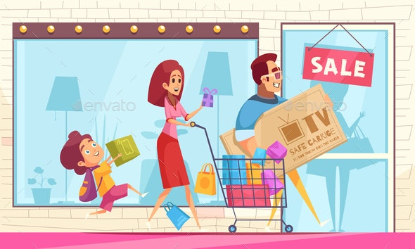 Family Shopping Mania Composition - People Characters
