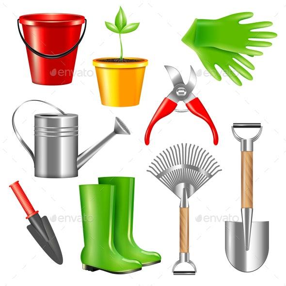 Realistic Gardening Tools Set - Miscellaneous Vectors