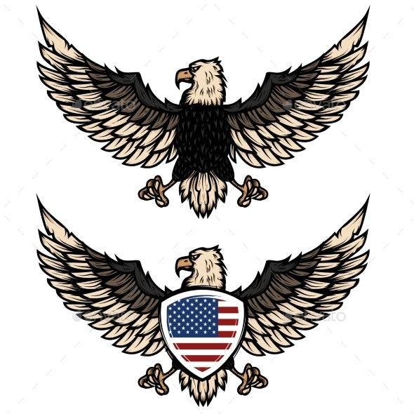 Illustration of Eagle with American Flag - Miscellaneous Vectors
