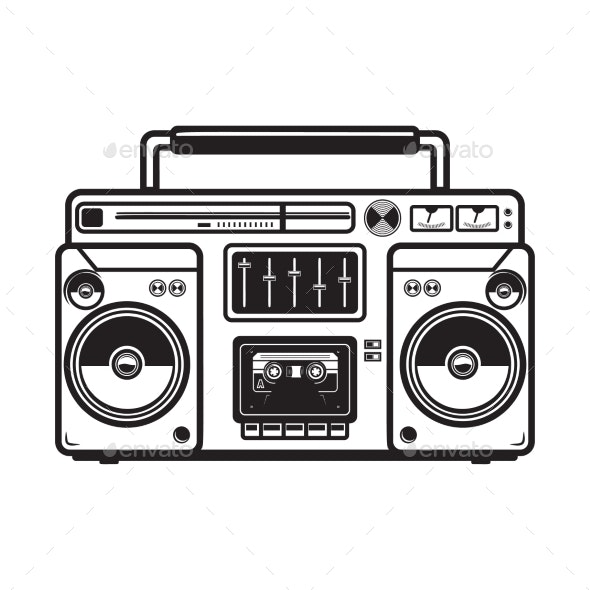 Boombox Illustrations on White Background - Miscellaneous Vectors