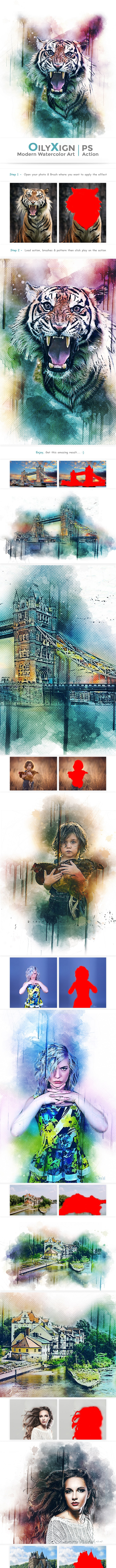 OilyXign - Modern Watercolor Art   PS Action - Photo Effects Actions