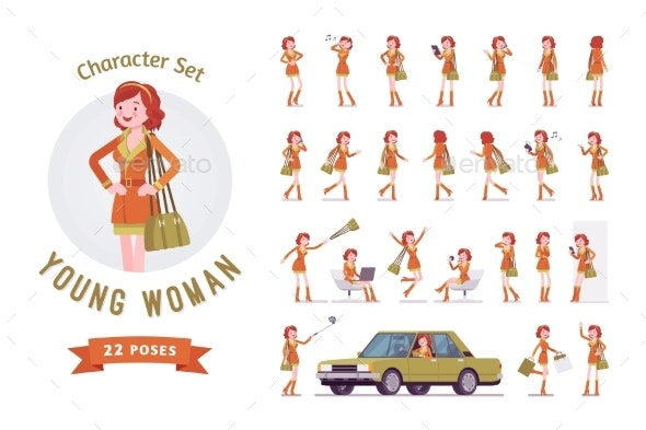 Attractive Red-Haired Lady Ready-to-Use Character - People Characters