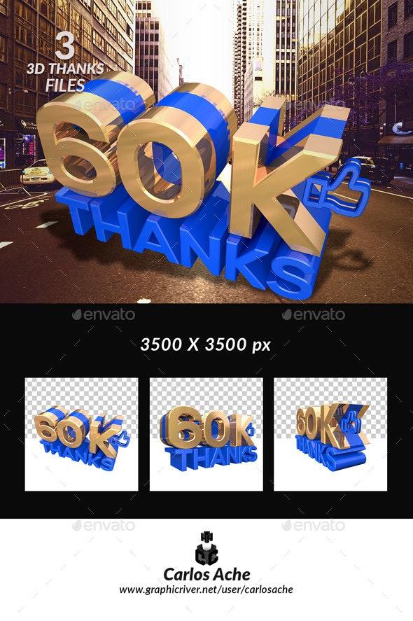 Facebook Like 60k - Text 3D Renders
