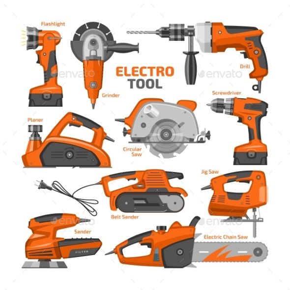Power Tools Vector Electric Construction Equipment - Industries Business