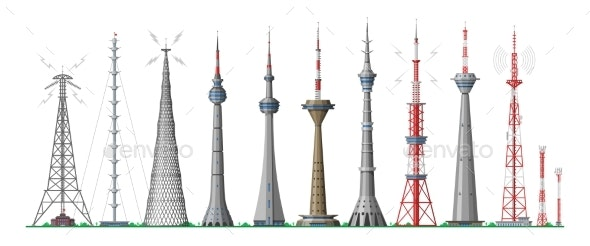 Tower Vector Global Skyline Towered Antenna - Industries Business