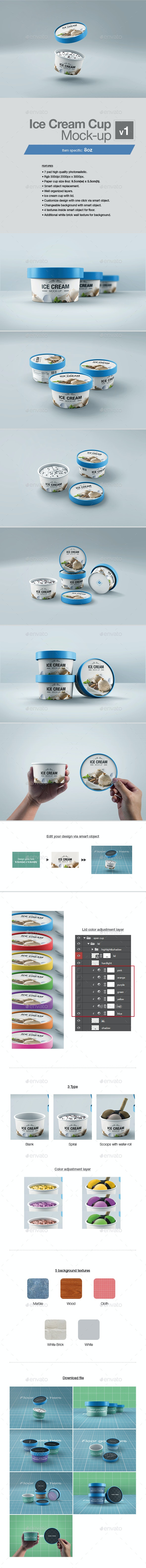 Ice Cream Cup Mock-up v1 - Packaging Product Mock-Ups