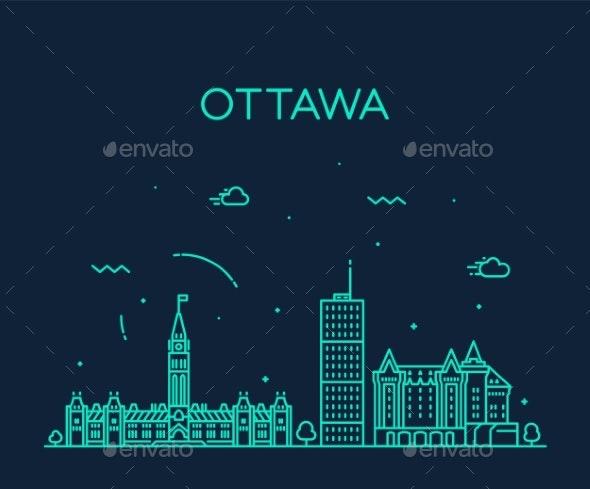 Ottawa City Skyline Ontario Canada Vector Linear - Buildings Objects