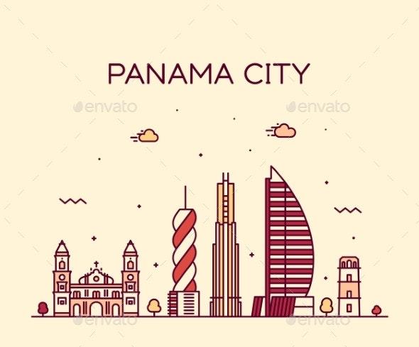 Panama City Skyline Panama Vector Linear Style - Buildings Objects