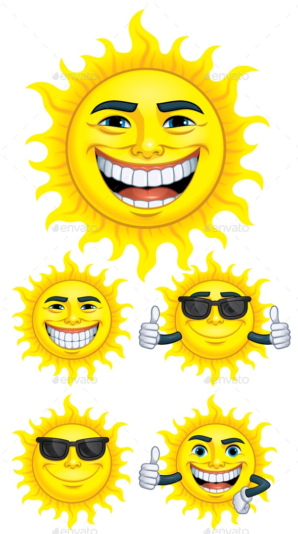 Set of Cartoon Sun Characters - Miscellaneous Characters