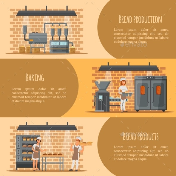 Bread Production Vector Banner Web Template Set - Industries Business