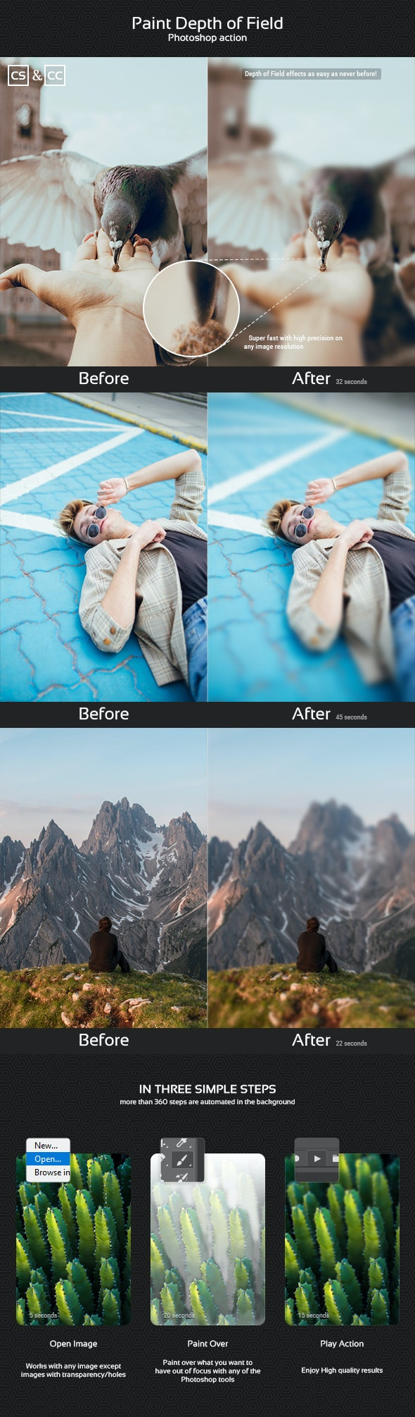 Paint Depth of Field Photoshop Action - Photo Effects Actions