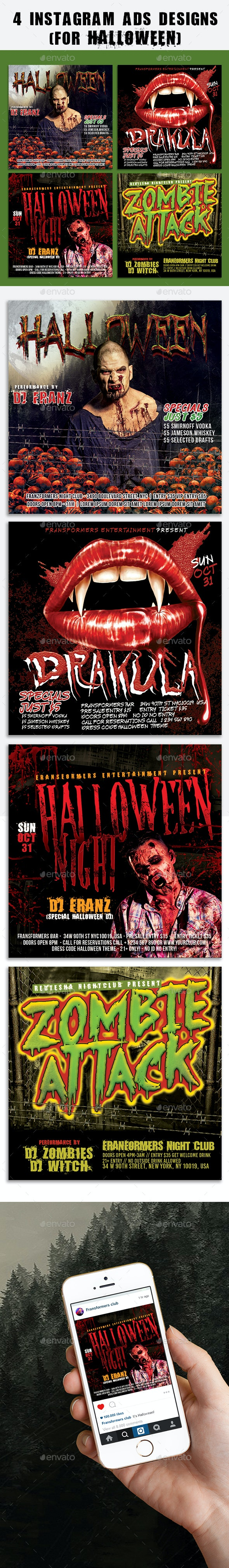 4 Instagram Banner Halloween Events - Banners & Ads Web Elements