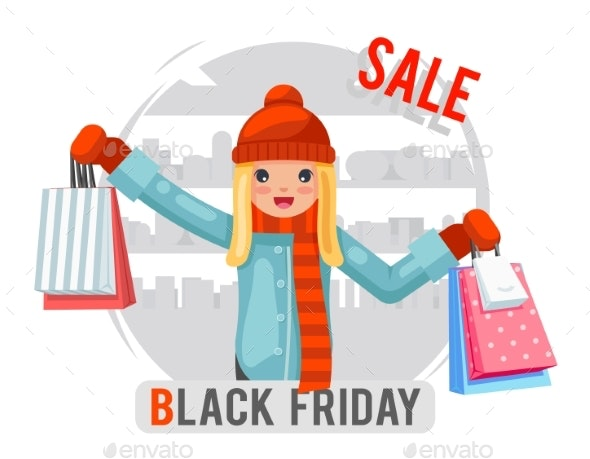 Shopping Girl Black Friday Sale Bag Package - Retail Commercial / Shopping