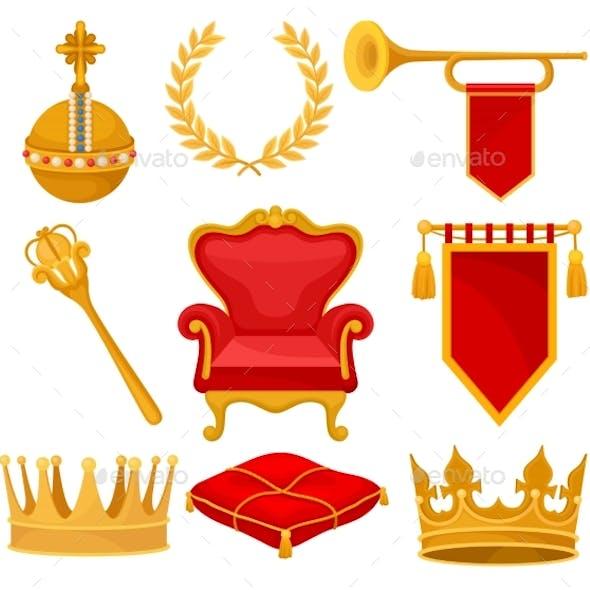 Monarchy Attributes Set, Golden Orb, Laurel Wreath