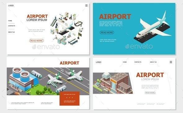 Isometric Airport Websites Collection - People Characters