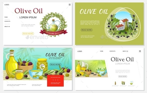 Cartoon Fresh Olive Websites Set - Food Objects