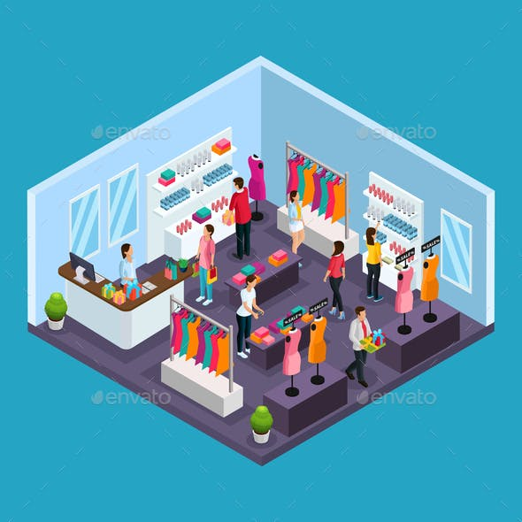 Isometric Holiday Shopping Template