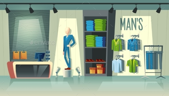 Vector Mens Clothing Shop - Man-made Objects Objects