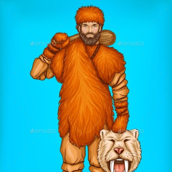 Vector Pop Art Caveman with Prey Hunting Concept
