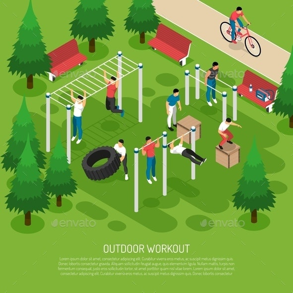 Workout in Park Isometric Illustration - People Characters