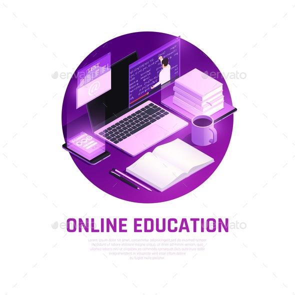 Online Education Circle Background - Miscellaneous Vectors