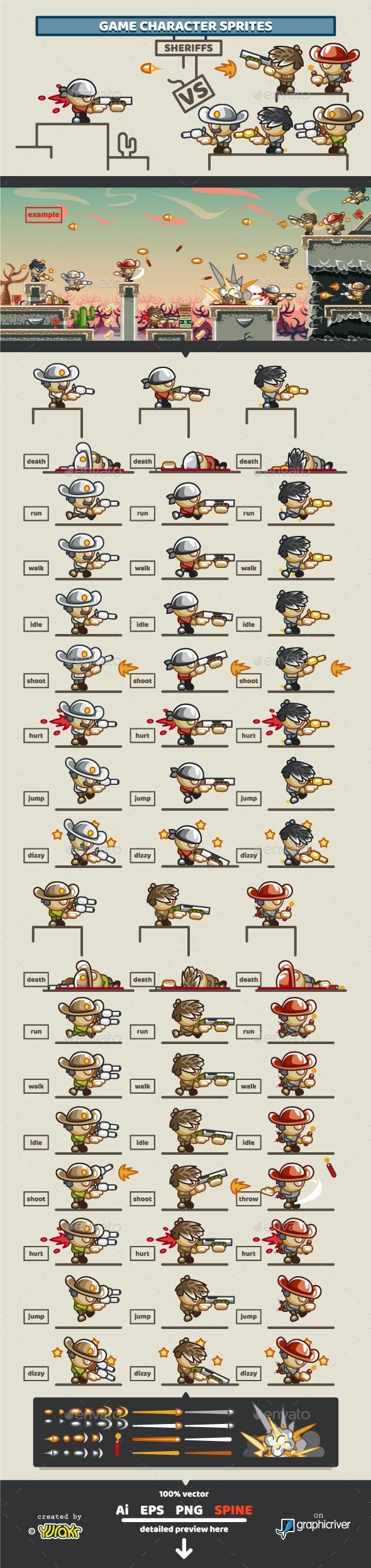 "Game Character Sprites ""Sheriffs"" - Sprites Game Assets"